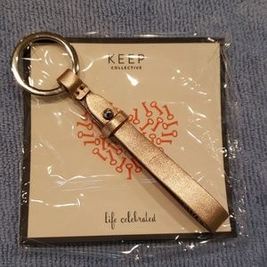 Rose Gold leather key fob by Keep Collective